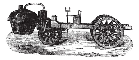 Steam-powered Tricycle, during 1770, vintage engraved illustration. Trousset encyclopedia (1886 - 1891). Vector