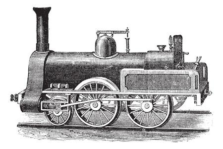 carreta madera: Locomotora de vapor Inglés, cosecha ilustración grabada. Enciclopedia Trousset (1886 - 1891). Vectores