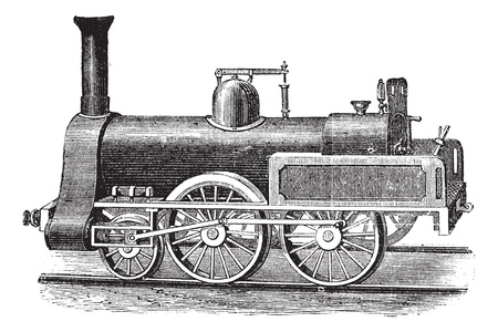 carreta madera: Locomotora de vapor Ingl�s, cosecha ilustraci�n grabada. Enciclopedia Trousset (1886 - 1891). Vectores