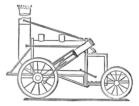 The Rocket, a steam locomotive by Stephenson, vintage engraved illustration. Trousset encyclopedia (1886 - 1891). Vectores