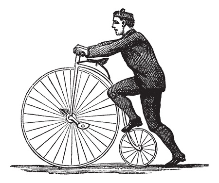 Penny-farthing or High Wheel Bicycle, showing how to mount the bicycle by stepping on the rear wheel, vintage engraved illustration. Trousset encyclopedia (1886 - 1891). Vector
