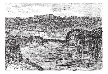 Verona, in Veneto, Italy, vintage engraved illustration. Trousset encyclopedia (1886 - 1891). Illustration