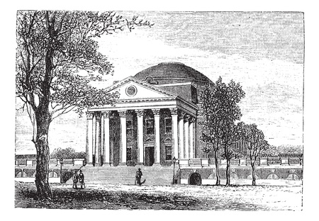 virginia: University of Virginia, in Charlottesville, Virginia, USA, showing the Rotunda building, vintage engraved illustration. Trousset encyclopedia (1886 - 1891).