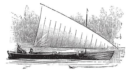 navigating: Lateen Rig, vintage engraved illustration. Trousset encyclopedia (1886 - 1891). Illustration