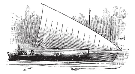 Lateen Rig, vintage engraved illustration. Trousset encyclopedia (1886 - 1891). Stock Vector - 13696984