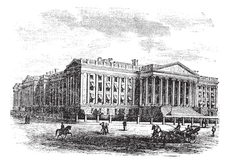 United States Department of the Treasury Building, in Washington, D.C., USA, vintage engraved illustration. Trousset encyclopedia (1886 - 1891). Vector