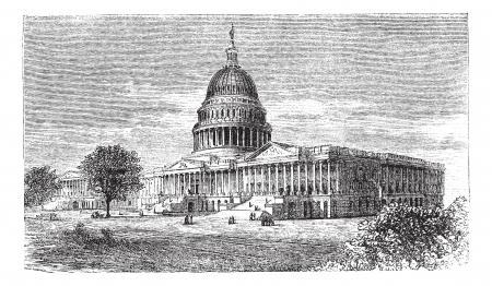 국회 의사당: 1891 - 워싱턴, DC, 미국, 1886 년 빈티지 새겨진 그림 Trousset 백과 사전에있는 미국 국회 의사당, 일러스트