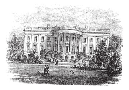 White house in Washington, D C, America, during the 1890s, vintage engraving  Old engraved illustration of the South facade of the White House