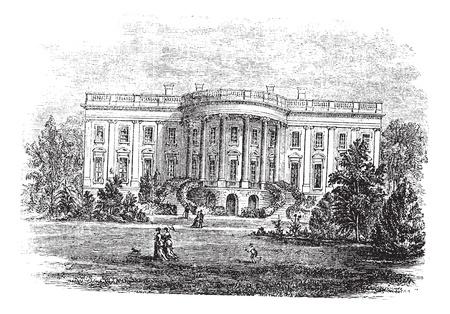 governmental: De la Casa Blanca en Washington, DC, Estados Unidos, durante la d�cada de 1890, el grabado de �poca antigua ilustraci�n de grabado de la fachada Sur de la Casa Blanca