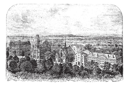 architectural drawing: Wesleyan University in Middletown, United States, during the 1890s, vintage engraving  Old engraved illustration of Wesleyan University  Illustration