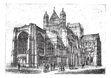 winchester: Winchester Cathedral in Winchester, Hampshire, England, during the 1890s, vintage engraving  Old engraved illustration of Winchester Cathedral with people looking at it
