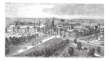 Windsor Castle in Windsor, Berkshire, England, during the 1890s, vintage engraving  Old engraved illustration of Windsor Castle  Vector