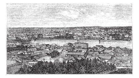 Yekaterinburg or Sverdlovsk in Russia, during the 1890s, vintage engraving  Old engraved illustration of Yekaterinburg city  Çizim