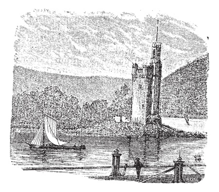 rhein: Mouse Tower in Rhine, Bingen am Rhein, Germany, during the 1890s, vintage engraving  Old engraved illustration of Mouse Tower with moving ship in front