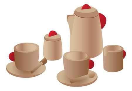 Wooden play tea set