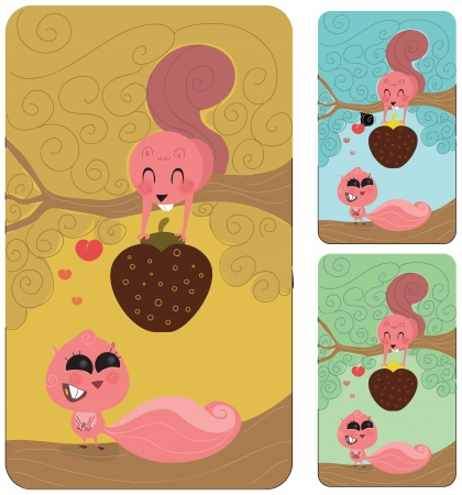 fiancee: Cute male squirrel or rodent in a tree giving his nut or strawberry to his fiancee or lover. She is enticed with him, completly in love. Retro style illustration
