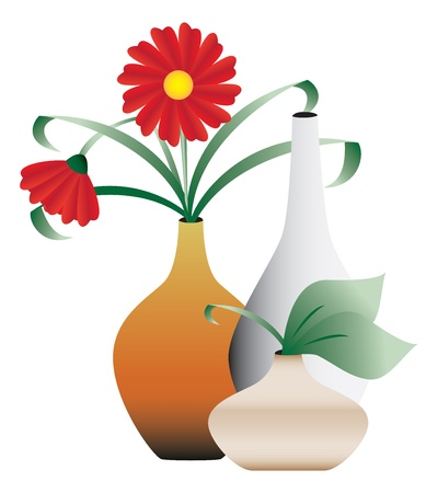 blossoming: Blossoming flowers in vases