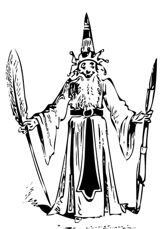 critique: Old engraving of a wizard with a smile on his face, long beard and pointy hat, holding a quill and a wand. From the Almanach comique, pittoresque, drolatique, critique et charivarique pour lann�e 1887. Illustration