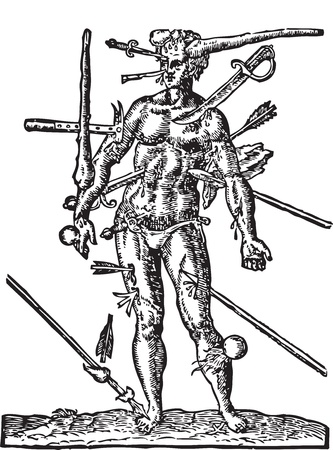 medical drawing: The Man of Wounds old engraving Illustration from  the Opera Chirurgica, by Ambroise Par� 1594. Shows a man with multiple wounds made by weapons, such as sword, arrow, club, lance, canonball and dagger.