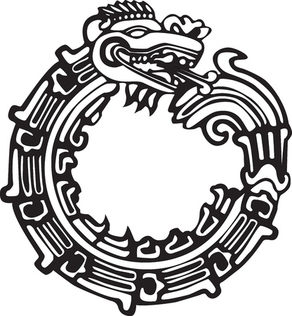 black and white dragon: Aztec Maya or Chinese dragon, vector, great for tattoo  Can be fully personalized and colored