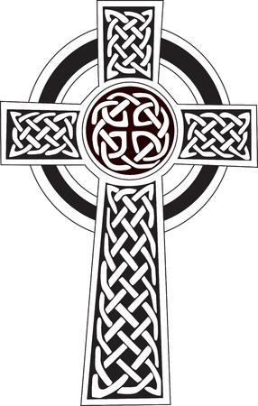 jesus on cross: Complesso croce celtica grande simbolo per il tatuaggio pu� essere completamente modificato e ridimensionato Vector, pu� facilmente cambiare le sue s colori Vettoriali
