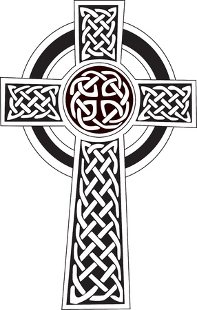 irish symbols: Complex Celtic cross symbol great for tattoo  Can be fully modified and scaled  Vector, can easily change it s colors  Illustration