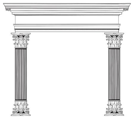 vectorized: Completamente vectorizados y muy detallada columnas griegas y el arco