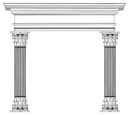 Fully vectorized and highly detailed Greek columns and arch