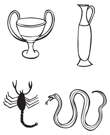 Different Greek signs and symbols, for tattoo or artwork, vector
