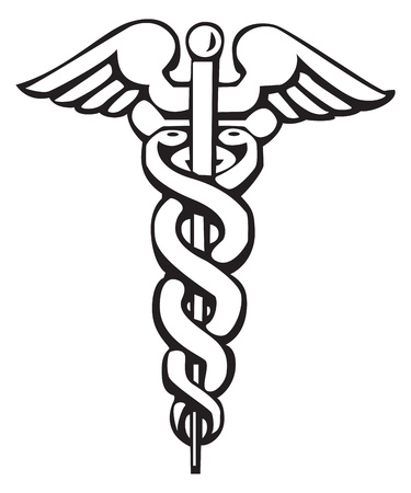 serpents: Caduceus, Greek sign, symbol, for tattoo or artwork,   Medical symbol Illustration