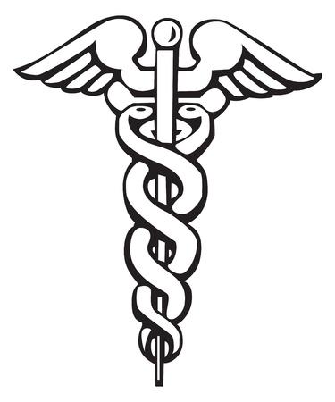 Caduceus, Grieks teken, symbool, voor tatoeage of kunstwerken, medische symbool