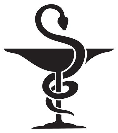 Griekse teken van een slang kronkelen op een kop, symbool, voor tatoeage of kunstwerken