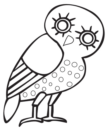 owl illustration: Greek owl sign, symbol