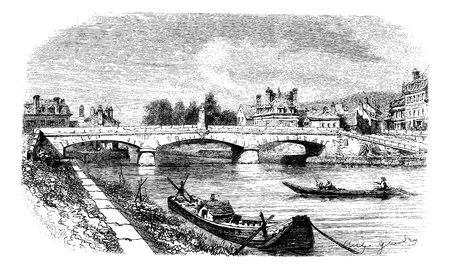 Clamecy Bridge, France, vintage engraving