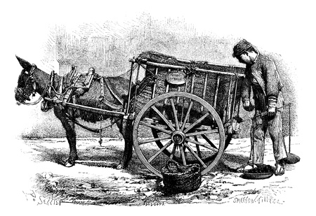 shopkeeper: Old engraved illustration of the coal merchant drawing by Saddler- Valencia Spain, 1874. Drawing of a man with weighing scale in one hand and another hand taking coal from the cart. Le Magasin Pittoresque - 1874.