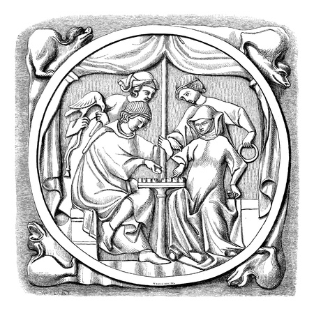 unesco: Old engraved illustration of the mirror of fifteenth century- Louvre Museum, Paris ,France, 1874. Drawing by Feart. Le Magasin Pittoresque - 1874.