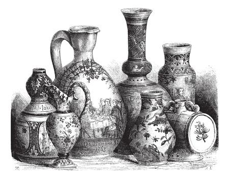 earthenware: Ilustraci�n del Antiguo grabado de la loza de Nevers diversos loza (cer�mica vidriada con esta�o) Dibujo de Edouard Garnier, 1874. Le Magasin Pittoresque? 1874. Vectores