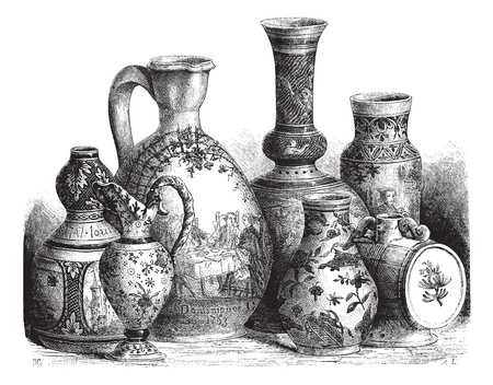 Old engraved illustration of various earthenware of Nevers faience (Tin-glazed pottery) drawing by Edouard Garnier, 1874. Le Magasin Pittoresque ? 1874. Illustration