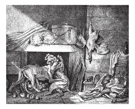 Museum of Vienna. Quarrel of dogs, sketch by Oudry, vintage engraved illustration. Magasin Pittoresque 1875. Ilustração