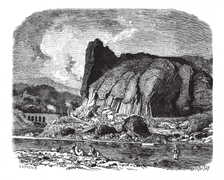 The basalts of Prades (Haute-Loire), vintage engraved illustration. Magasin Pittoresque 1875.