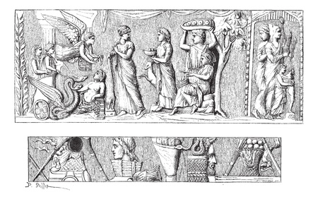 Development of Vase of Mantua, vintage engraved illustration. Magasin Pittoresque 1875. Vector