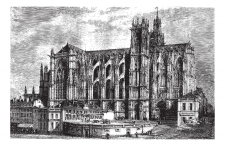 The Cathedral of Metz (north side), vintage engraved illustration. Magasin Pittoresque 1875. Иллюстрация