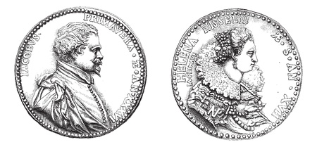 primavera: Cabinet of medals from the National Library. Medallion of Jacques Primavera and helena Nisselys, his wife, vintage engraved illustration. Magasin Pittoresque 1875.