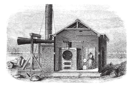 magasin pittoresque:  A siren, machine for signal on the coast of the United States Units. - Drawing Jahandier, vintage engraved illustration. Magasin Pittoresque 1874.