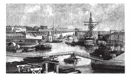 ph: General view of the port of Brest. - Drawing Ph. Blanchard, vintage engraved illustration. Magasin Pittoresque 1874