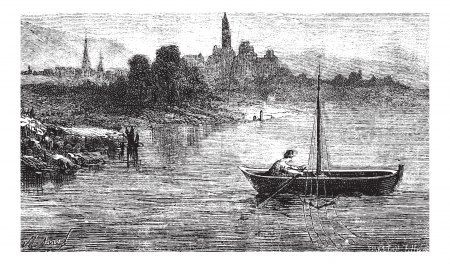 FIG. 102. - Fishing for trout has an otter, vintage engraved illustration. Magasin Pittoresque 1874  Illusztráció