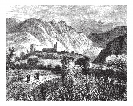 magasin pittoresque: Le Vernet and Mount Canigou; view taken on the north side. - Drawing Ph. Blanchard, vintage engraved illustration. Magasin Pittoresque 1874.