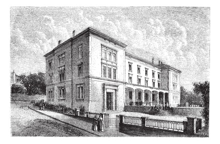 college building: The college girls, a Neuchatel. - Drawing of Lancelot., vintage engraved illustration. Magasin Pittoresque 1874