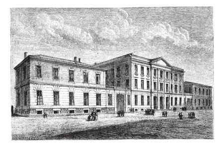 ヌーシャテルで大学の男の子。-ランスロット、ヴィンテージの刻まれた図の図面.マガシンドス Pittoresque 1874。  イラスト・ベクター素材