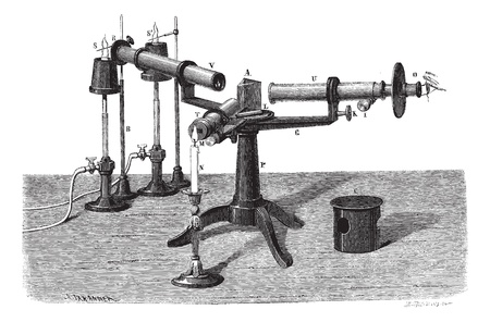 wavelengths: The Spectroscope or Spectrophotometer or Spectrometer or Spectrograph, vintage engraved illustration. Magasin Pittoresque 1874.